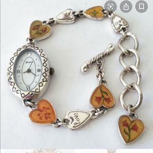 Brighton Picadilly Silvertone Heart Bracelet Watch